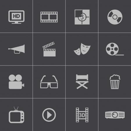 Vector black cinema icon set Vector