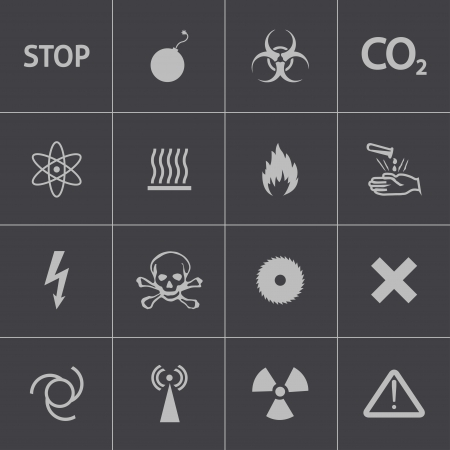 Vector black  danger icons set Stock Vector - 24290997