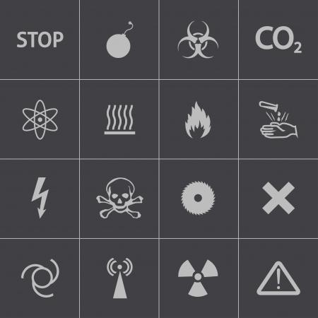 caustic: Vector black  danger icons set