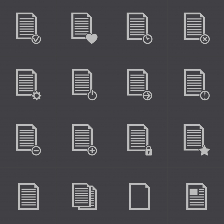 Vector black  document icons set Stock Vector - 24291001