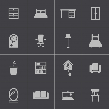 Vector black  furniture icons set Vector
