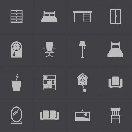 desk lamp: Vector black  furniture icons set
