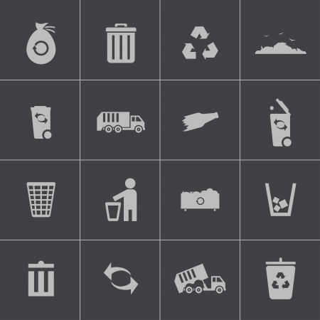 cleaning earth: Vector black  garbage icons set