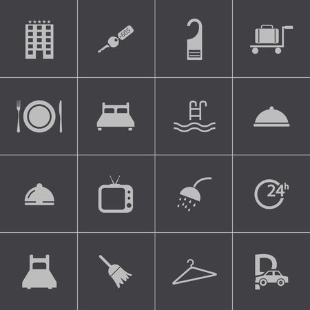 Vector black  hotel icons set Vector