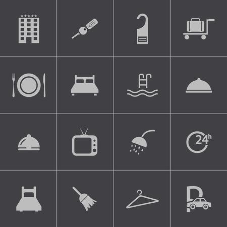 sleeping car: Vector black  hotel icons set Illustration