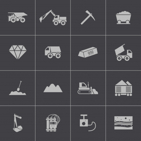 Vector black  mining icons set Vector