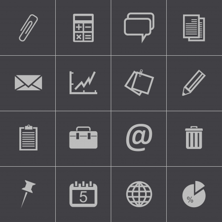 office objects: Vector black  office icons set Illustration