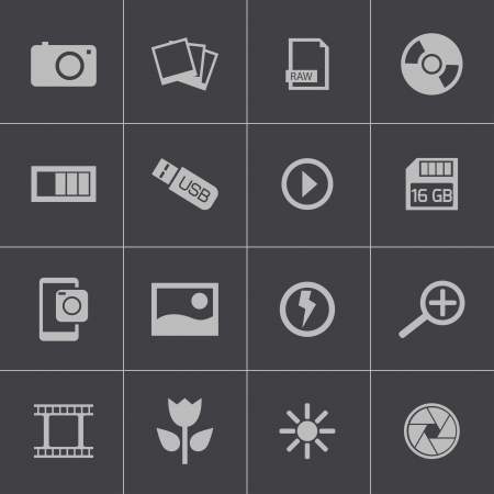 photo icons: Vector black  photo icons set