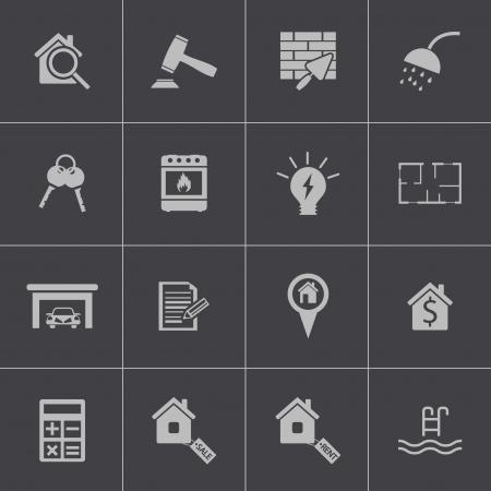 rea: Vector black  rea estatel icons set Illustration