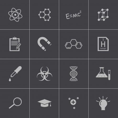 Vector black science icon set Vector