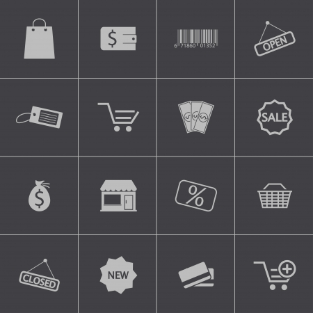 Vector black  shop icons set Illustration