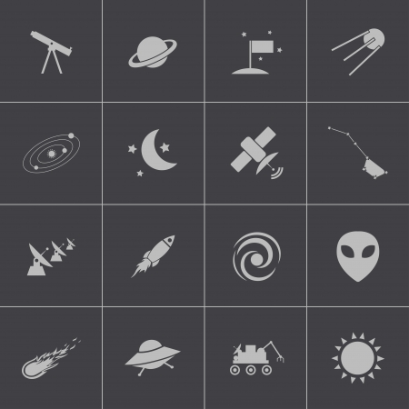 Vector black  space icons set Stock Vector - 24306131