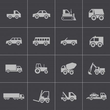 Vector black  vehicle icons set Stock Vector - 24306137