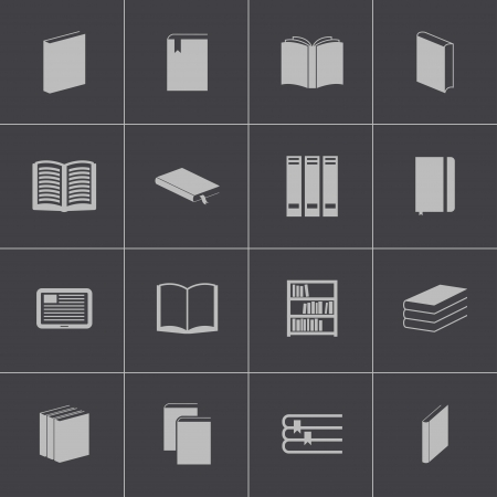 digital library: Vector black  book  icons set