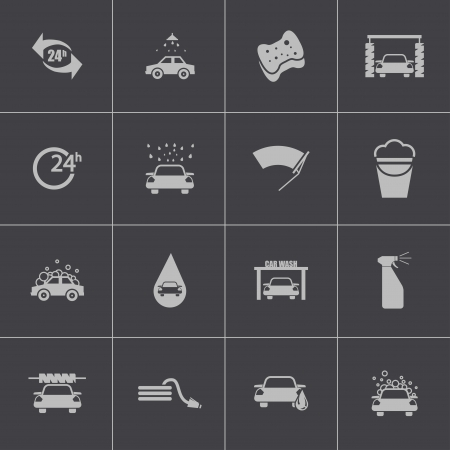 Vector black  car wash  icons set Stock Vector - 24332824