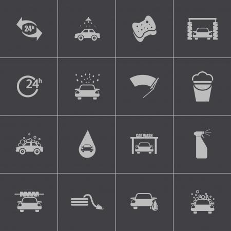 autolavado: Vector iconos de lavado de autos negro establecen Vectores