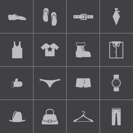 Vector black  clothes  icons set Vector