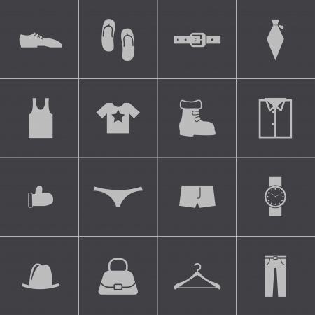 Vector black  clothes  icons set Illustration