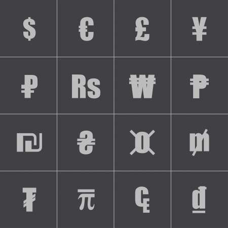 Vector black currency symbols set Stock Vector - 24332834