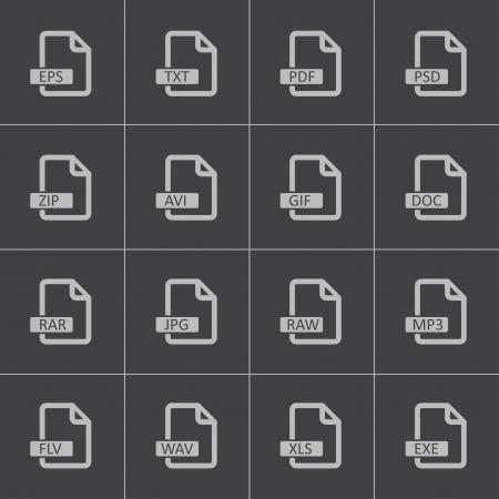 mov: Vector black  file format  icons set Illustration