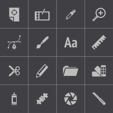 computer graphic: Vector black  graphic design  icons set Illustration