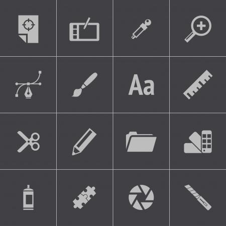 graphic tablet: Vector black  graphic design  icons set Illustration