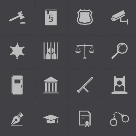 prosecutor: Vector giustizia nero set di icone