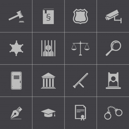 judicial system: Vector iconos de justicia negro establecen Vectores