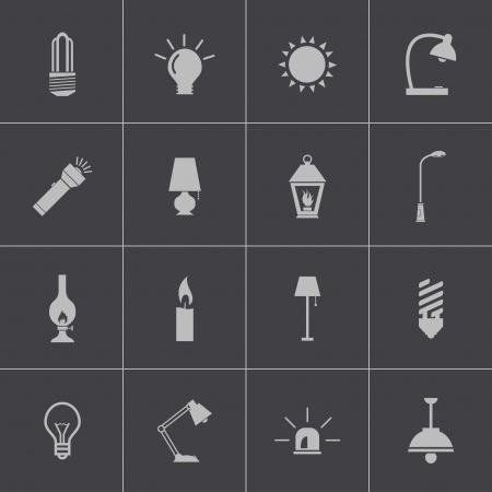 할로겐: 벡터 블랙 라이트 아이콘을 설정
