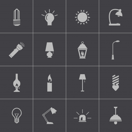 black light: Vector black light icons set Illustration
