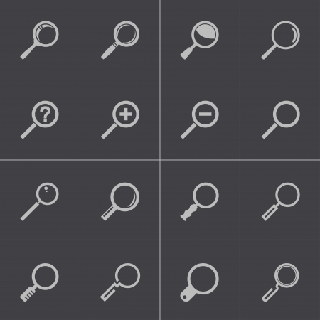 lupe: Vector black  magnifying glass  icons set