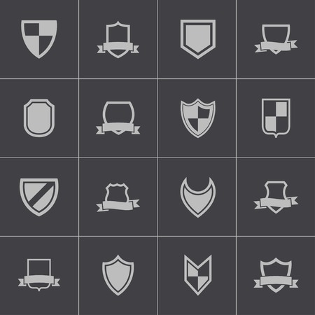 Vector black icon shield icons set Vector