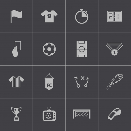 offside: Vector black  soccer  icons set