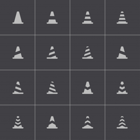 obstacles: Vector black traffic cone   icons set