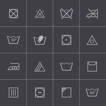 Vector black  washing    icons set Vector