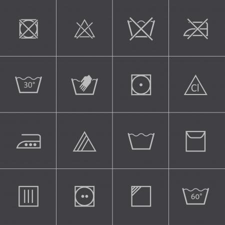 dry cleaned: Vector lavaggio nero set di icone Vettoriali