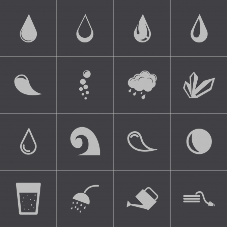 Vector black water icons set Stock Vector - 24332866