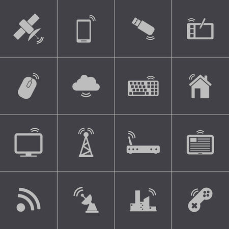transmitter: Vector black wireless icons set