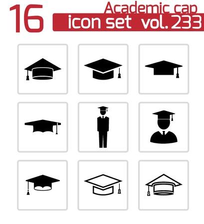 mortar board: academic cap icons set on white Illustration