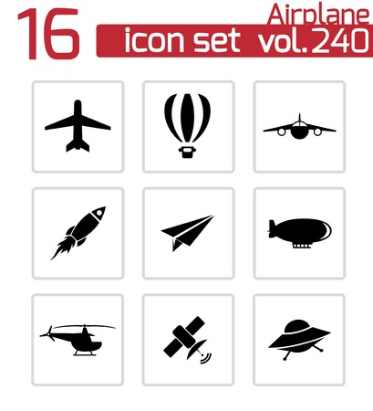 airplane icons set on white Vector