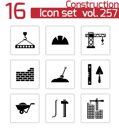 construction icons set on white Vector