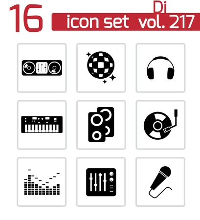 dj icons set on white Vector