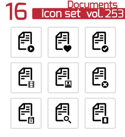 mov: documents icons set on white