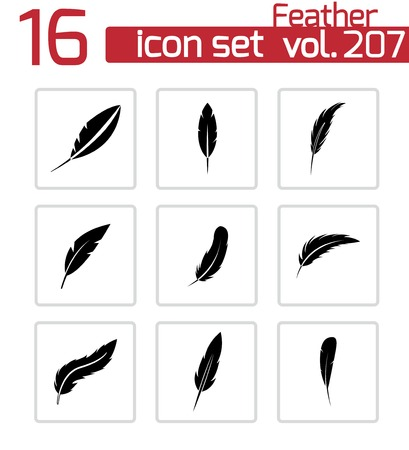 black feather: feather icons set on white