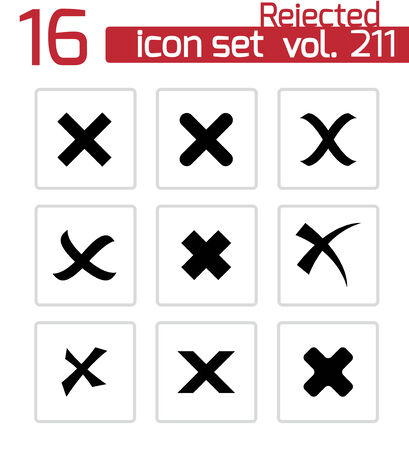 rejected icons set on white Vector