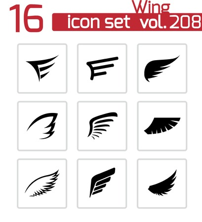 angel silhouette: wing icons set on white Illustration