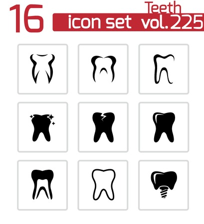 abstract tooth: black teeth icons set on white