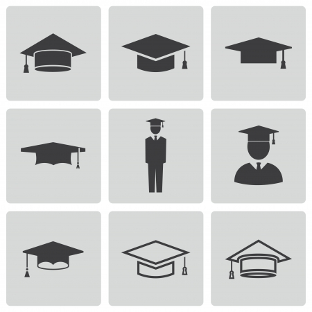 college graduate: academic cap icons set Illustration