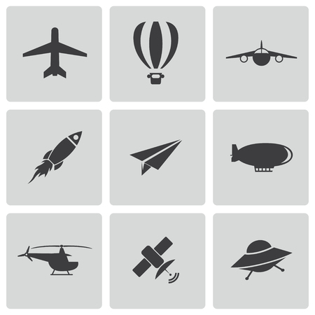 aerostat: airplane icons set
