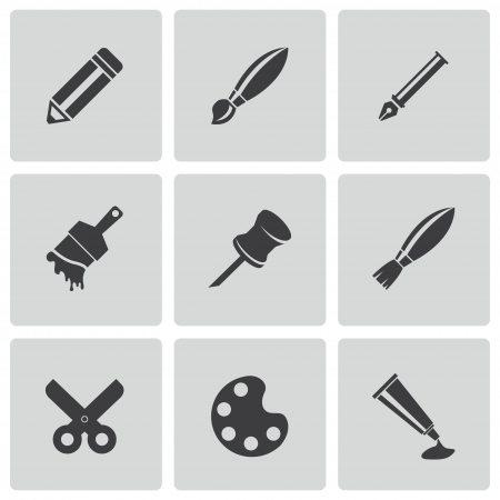 digitizer: art tool icons set Illustration